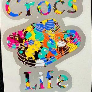 Crocs Life Multi Color Vinyl Car Decal Sticker